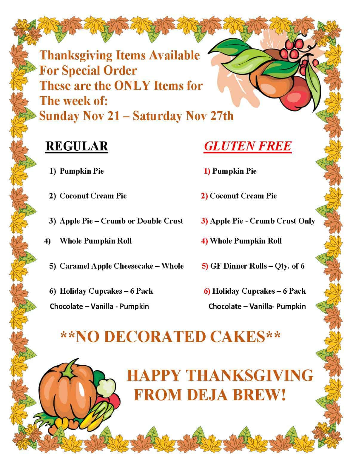 Thanksgiving Special Orders 2021